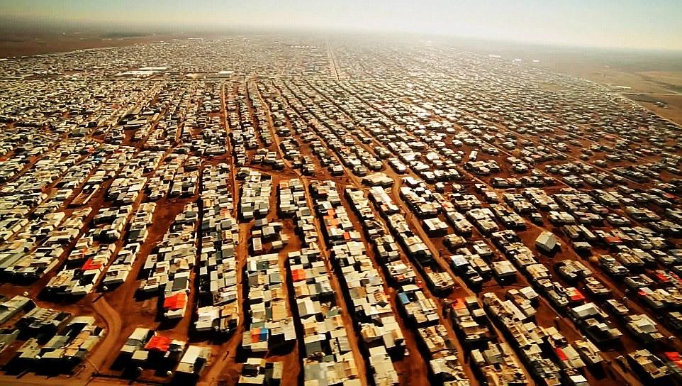An aerial view shows the Zaatari refugee camp near the Jordanian city of Mafraq, some 8 kilometers from the Jordanian-Syrian border.  03/02/2016. BBC News